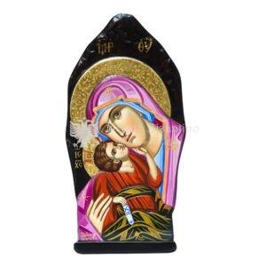 icona madonna della tenerezza dipinta a mano a rilievo tronco