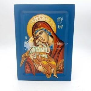 icona madonna della tenerezza fondo blu dipinta a mano