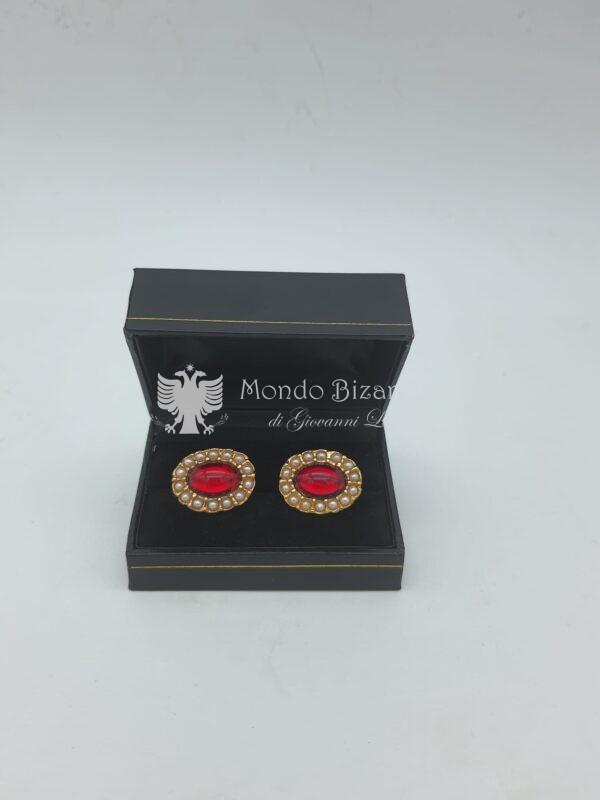 gemelli ovali microperline e pietra rossa