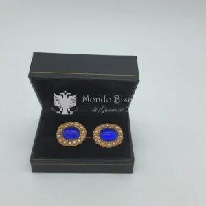 gemelli ovali pietra blu e micro perline