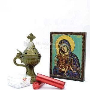 kit madonna litografia e incensiere ghisa scaled 1