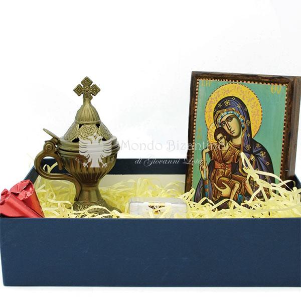 kit madonna litografia e incensiere ghisa scatola scaled 1