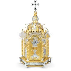 Artoforio Tabernacolo in metallo dorato argentato size 36x33x70 cod 3 31
