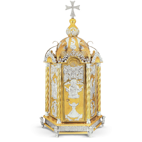 Artoforio Tabernacolo in metallo dorato argentato size 36x33x78 cod 3 30