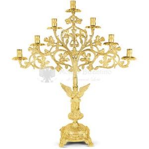 Candelabro a sette bracci in metallo dorato size 55x20x64 cod 48 390