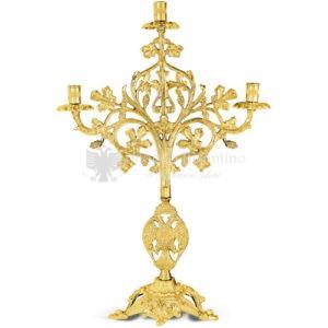 Candelabro a tre bracci in metallo dorato size 26x15x40 cod 48 392