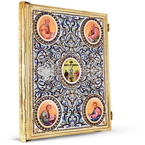 Coprievangeliario in metallo argentato dorato e smalti size 33x4x45 cod 21 185