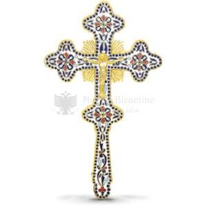 Croce benedizionale in metallo dorato con smalti size 17x2x29 cod70 644