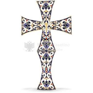 Croce benedizionale in metallo dorato con smalti size 17x2x29 cod70 645