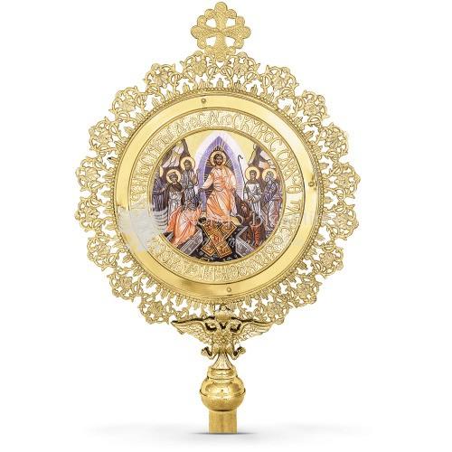 Exalpsalterica in metallo dorato con immagine della Resurrezione size 36x60 cod 35 275