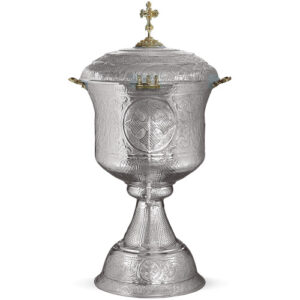 Fonte battesimale in metallo argentato size 65x65x130 65lt cod 104 866