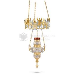 Lampada pensile in metallo dorato e argentato size 33x33x72 cod 58 504