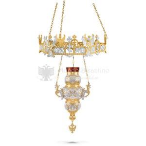 Lampada pensile in metallo dorato e argentato size 33x33x74 cod58 503