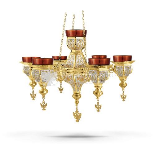 Lampada pensile multipla in metallo dorato e argentato size 50x50x34 cod 60 527