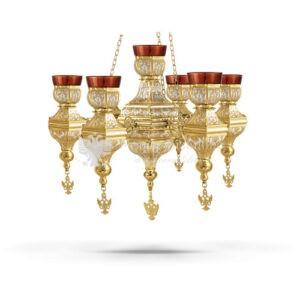 Lampada pensile multipla in metallo dorato e argentato size 50x50x35 cod 60 524