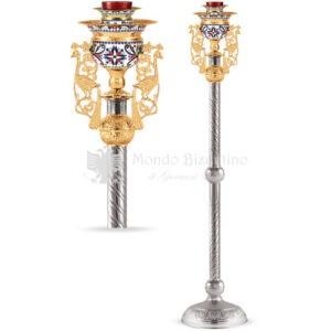 Lampada per Santissimo in metallo argentato e dorato size 30x30x136 cod 106 878