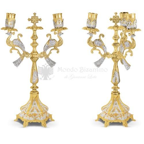 Set bicerio e tricerio in metallo dorato e argentato size 16x16x35 cod 44 359