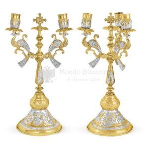 Set bicerio e tricerio in metallo dorato e argentato size 16x16x35 cod 44 361