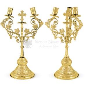 Set bicerio e tricerio in metallo dorato size 15x15x35 cod 43 355
