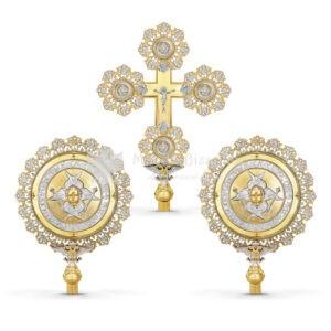 Set croce processionale e cherubini in metallo dorato e argentato size 46x65 37x54 cod 30 257