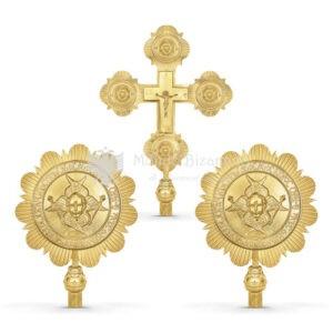 Set croce processionale e cherubini in metallo dorato size 39x59 32x47 cod 32 262