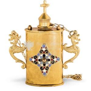Vaso per olio santo in metallo dorato e smalto size 13x5x15 cod 67 615