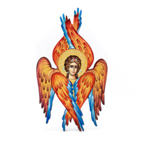 icona dipinta a mano e sagomata cherubino