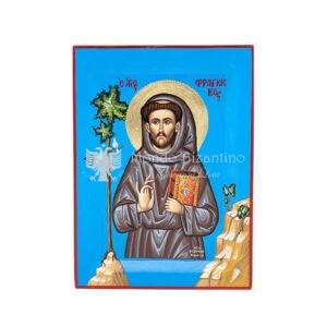 icona dipinta a mano san francesco d assisi 30x22 cm