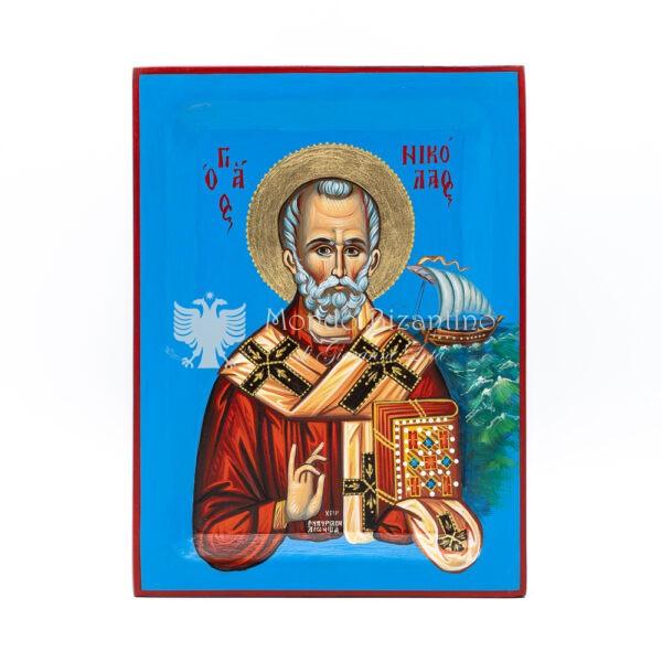 icona dipinta a mano san nicola di bari vescovo di mira cm 30x22 1