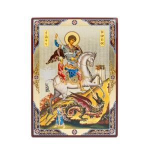 icona stampata fondo lucido san giorgio megalomartire