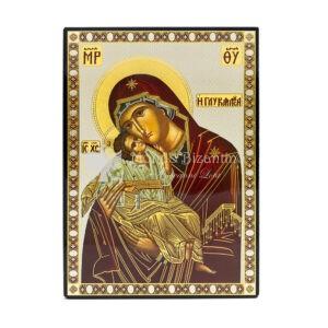 icona stampata su fondo lucido madonna della tenerezza intera