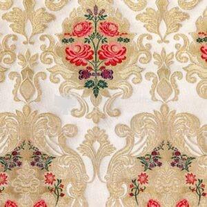 damasco venezia I 09 101 bianco oro fiori rossi