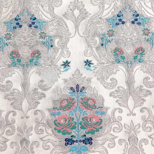 damasco venezia I 09 102 bianco argento fiori celesti