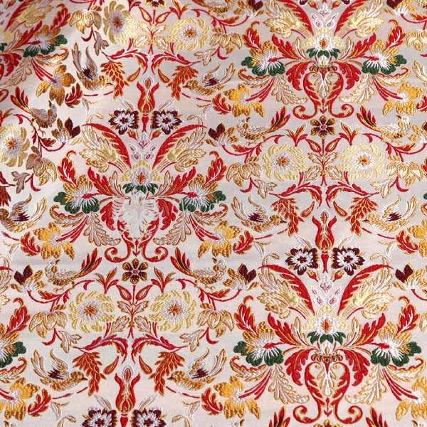 tessuto damascato I 73 102 bianco fiori oro