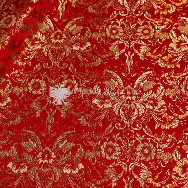 tessuto damascato I 73 104 rosso fiori oro