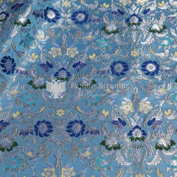 tessuto damascato I 73 106 celeste fiori blu
