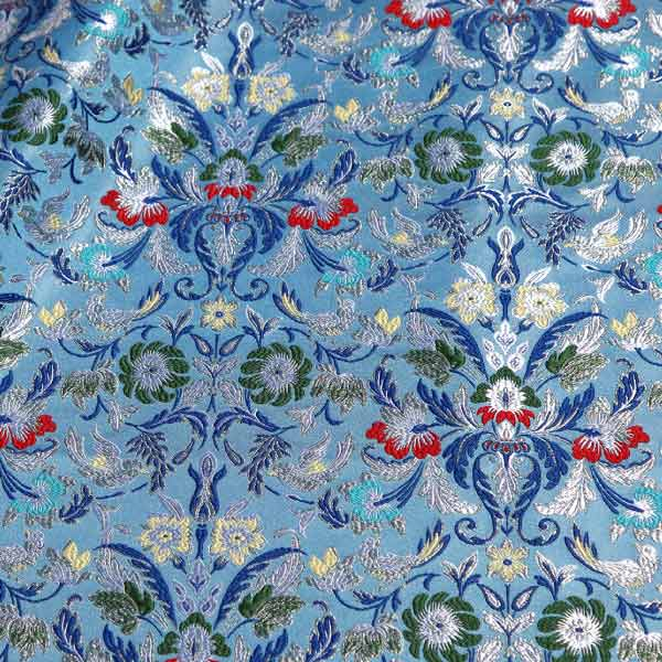 tessuto damascato I 73 107 celeste fiori verdi