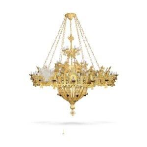 lampadario bizantino alluminio dorato 100 818