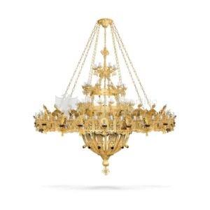 lampadario bizantino alluminio dorato 99 815